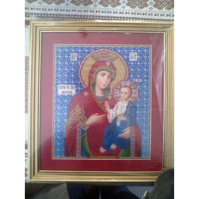 The Iverian Virgin Mary Beads Embroidered Icon