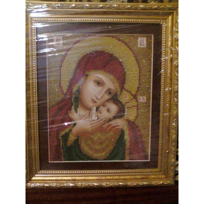 Kasper Mother Mary Beads Embroidered Icon