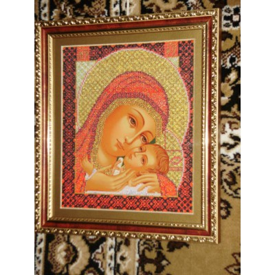 Korsun Mother Mary  Beads Embroidered Icon