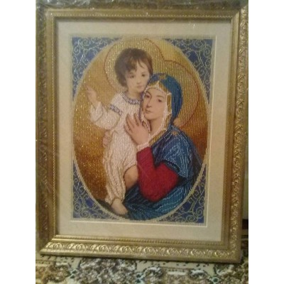 Virgin Maria with a Holy Baby Beads Embroidered Icon