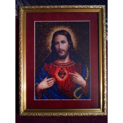 The Holy Heart of Jesus Beads Embroidered Icon