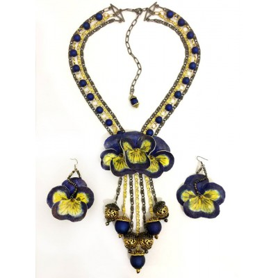 "Jewellery set ""Blue on Gold"""