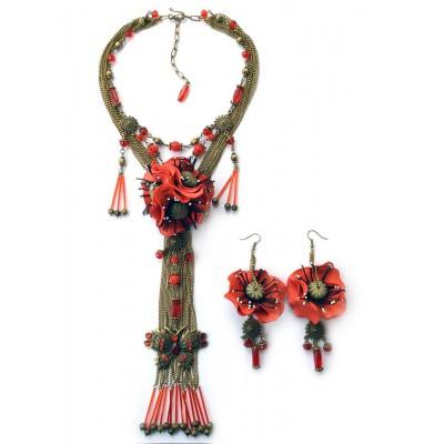 """Jewellery set """"Poppies on Bronze"""""""