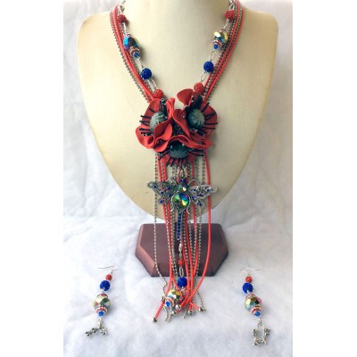 """Necklace """"Poppies and Dragonfly"""""""