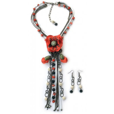 "Jewellery set ""Poppies Black&White&Red"""