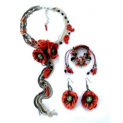 "Jewellery set ""Poppies Scarlett"""