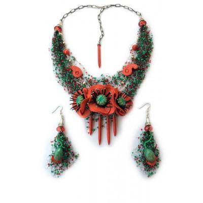 "Jewellery set ""Poppies Field"""