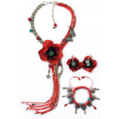 "Jewellery set ""Poppies on Grassland"""