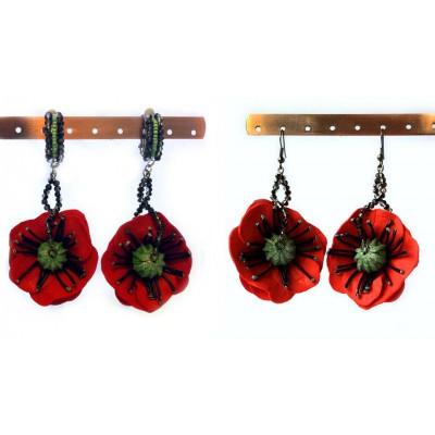 """Earrings/clips """"Poppies Scarlett"""""""