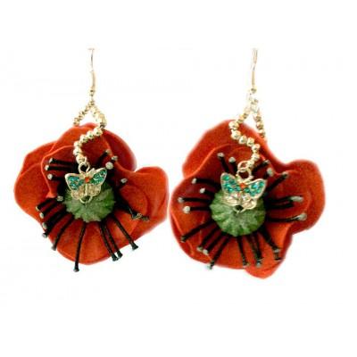 """Earrings """"Poppies on Grassland"""""""