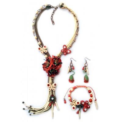"Jewellery set ""Poppies Vintage"""