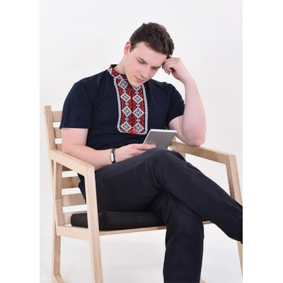 "Embroidered t-shirt for men ""Kryivka"" red on navy"