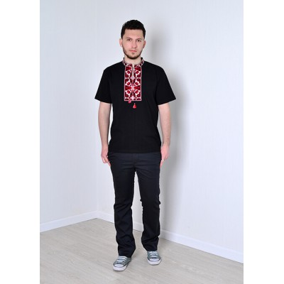 "Embroidered t-shirt for men ""Destination"" red on black"