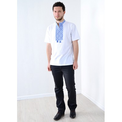 "Embroidered t-shirt for men ""Glory"" blue on white"