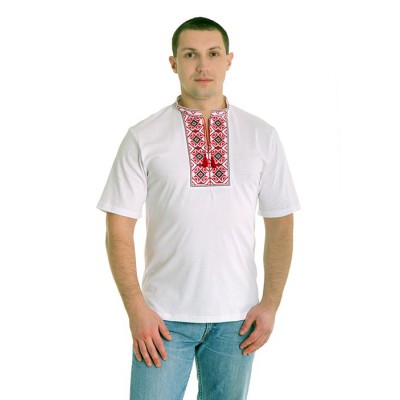 """Embroidered t-shirt for man """"Rhombus Red&Black"""""""