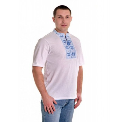 """Embroidered t-shirt for man """"Folk Blue"""""""