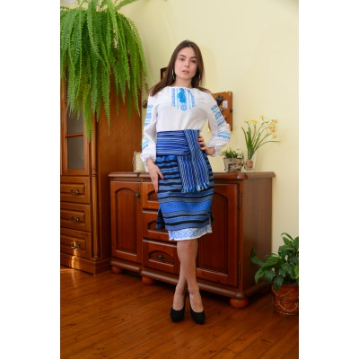 "Set of Ukrainian Plakhta+Underskirt+Krayka ""Blue Carpathians New"""