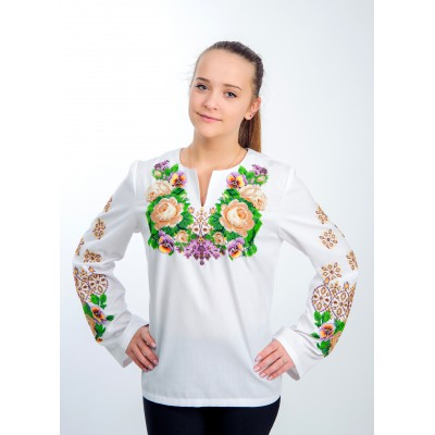 "Beads Embroidered blouse ""Afternoon Happiness"""