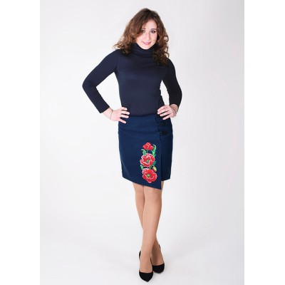 "Embroidered Cashmere Skirt ""Luxurious Poppies"" blue"