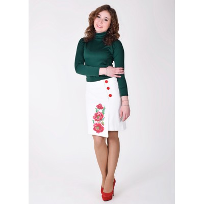"Embroidered Cashmere Skirt ""Luxurious Poppies"" white"