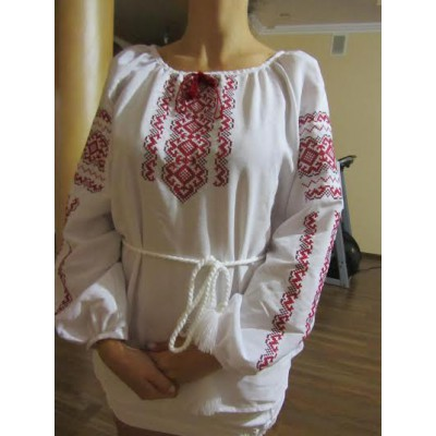 "Embroidered  blouse ""Lace Red on White"""