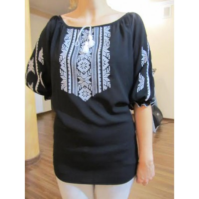 "Embroidered  blouse ""Magic Triangles White on Black"""