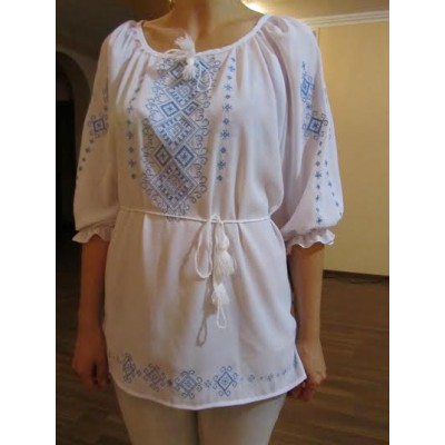 """Embroidered  blouse """"Shining Moon Blue on White"""""""