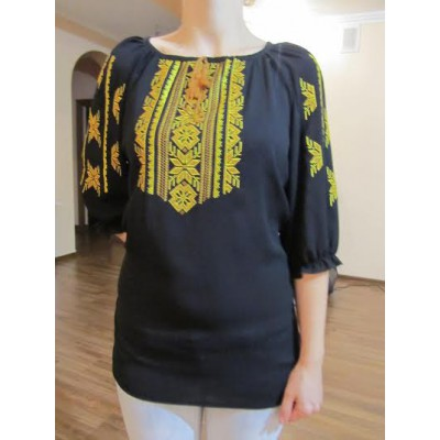 "Embroidered  blouse ""Magic Triangles Yellow on Black"""
