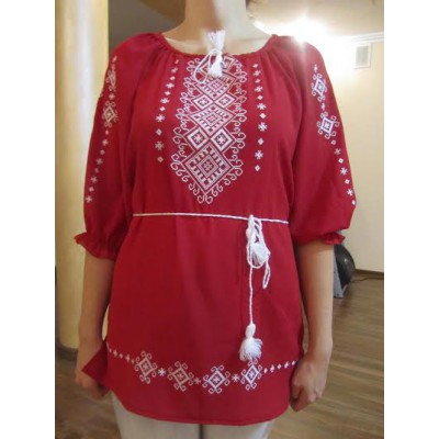 """Embroidered  blouse """"Shining Moon White on Red"""""""