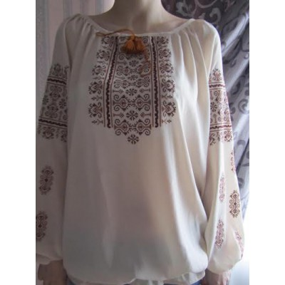 "Embroidered  blouse ""Oriental Curves Brown on White"""