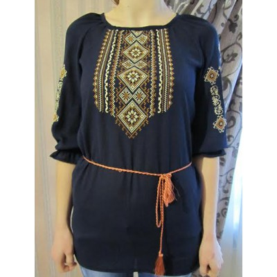 """Embroidered  blouse """"Fantastic Flowers Brown on Black"""""""