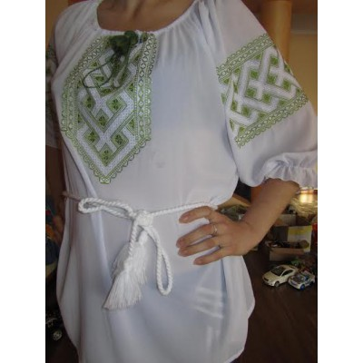 "Embroidered  blouse ""Chiffon Weaving Lime on White"""