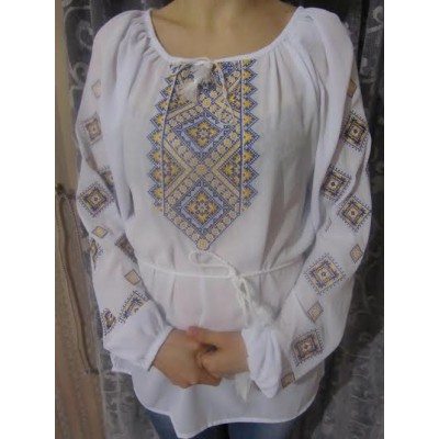 "Embroidered  blouse ""Diamonds Yellow&Blue"""