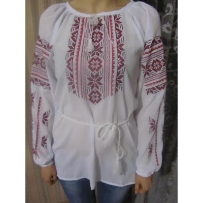 "Embroidered  blouse ""Magic Triangles Red on White"""