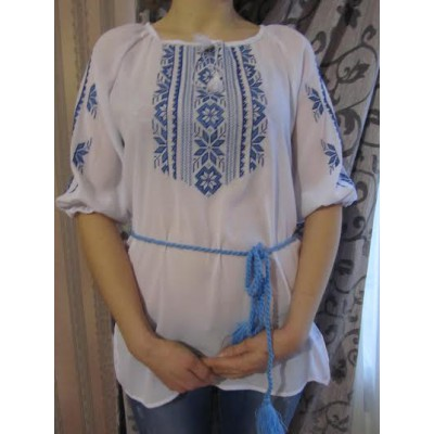 "Embroidered  blouse ""Magic Triangles Blue 1/2 sleeve"""