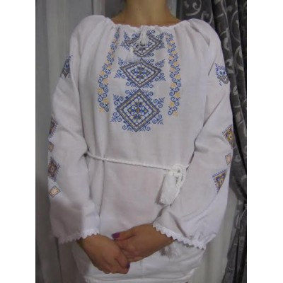 """Embroidered  blouse """"Spring Diamonds Blue&Yellow"""""""