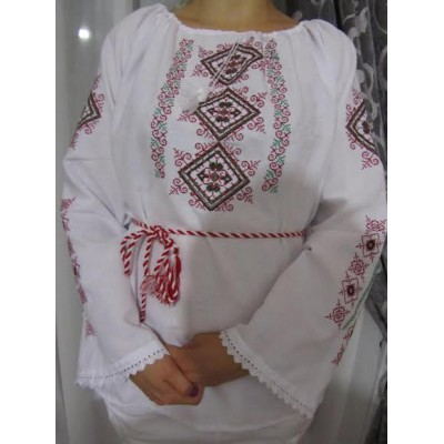 """Embroidered  blouse """"Spring Diamonds Red&Green"""""""