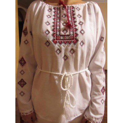 "Embroidered  blouse ""Twinkling Stars Red on White"""