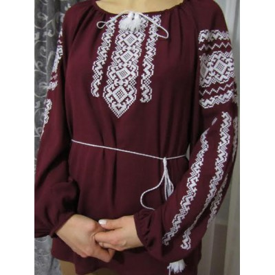 "Embroidered  blouse ""Lace White on Mauve"""