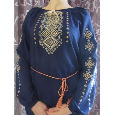 """Embroidered  blouse """"Shining Moon Golden on Blue"""""""