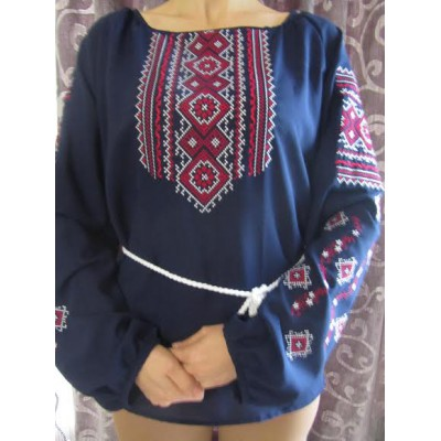 "Embroidered  blouse ""Fantastic Flowers Red on Blue"""