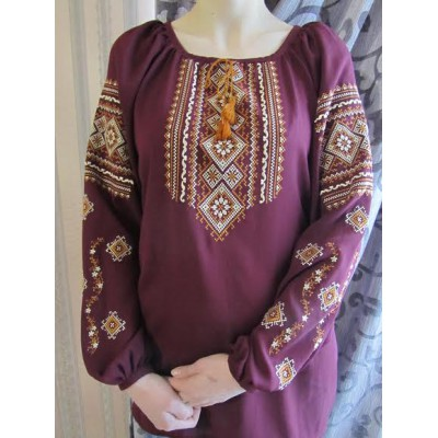 "Embroidered  blouse ""Fantastic Flowers Golden on Mauve"""