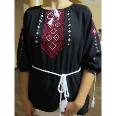 """Embroidered  blouse """"Shining Moon Red on Black"""""""