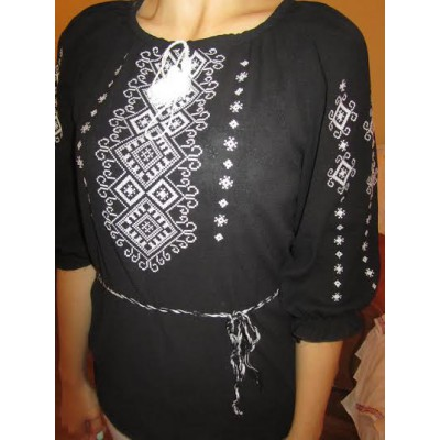 """Embroidered  blouse """"Shining Moon White on Black"""""""