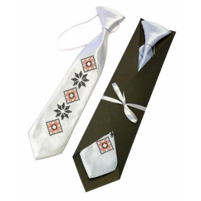 "Embroidered tie for a boy ""White Symbol"""