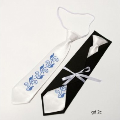 "Embroidered tie for a boy ""White"""