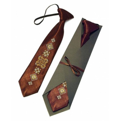 "Embroidered tie for a boy ""Brown"""