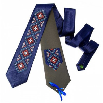 "Embroidered tie for men ""Bright Blue"""