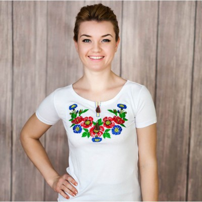 "Embroidered t-shirt ""Bouquet of Cornflowers"""
