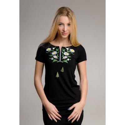 "Embroidered t-shirt ""Daisies"" black"